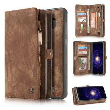 CaseMe Samsung Galaxy S8 Zipper Wallet Detachable 2 in 1 Retro Flannelette Leather Folio Case Brown