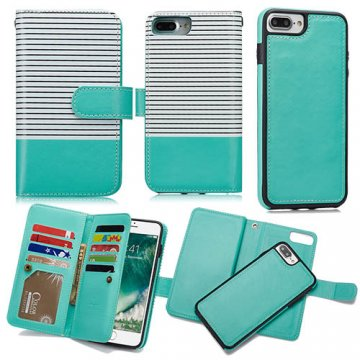BRG iPhone 8 Plus Wallet 2 in 1 Stripe Leather Case White + Green