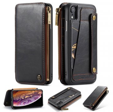 CaseMe iPhone XR Business Zipper Wallet Detachable Case Black