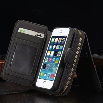 BRG iPhone SE/5S/5 Multi-functional 2 in 1 Zipper Wallet Leather Detachable Magnetic Case Cover