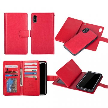 BRG iPhone X Wallet 9 Slot Cards Detachable Magnetic Case Red