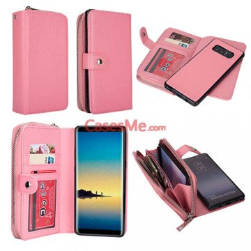 BRG Samsung Galaxy Note 8 Zipper Wallet Litchi Pattern Case Pink