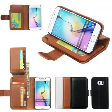 Litchi Pattern Samsung Galaxy S6 Edge Multi-functional 7 Cards Slot Wallet Leather Case