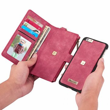 CaseMe iPhone 6S/6 Zipper Wallet Metal Buckle Detachable Folio Case Red