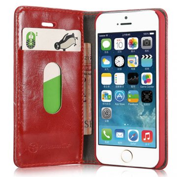 CaseMe iPhone SE/5S/5 Wallet Magnetic Flip Leather Case Red