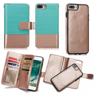 BRG iPhone 8 Plus Wallet 2 in 1 Stripe Leather Case Green + Gold