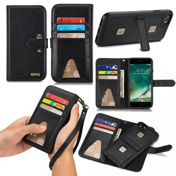 BRG iPhone 6S Plus/6 Plus Wallet 2 in 1 Case with Wrist Strap Black