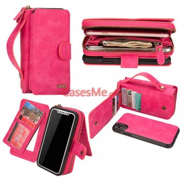 BRG iPhone X Zipper Wallet Detachable Magnetic Case Rose