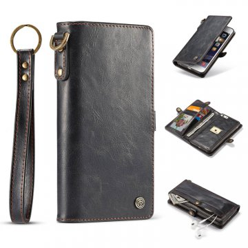 CaseMe iPhone 6S/6 Wallet Retro Style Case With Wrist Strap Black