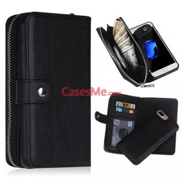BRG iPhone 8 Plus Zipper Wallet Detachable Litchi Pattern Case Black