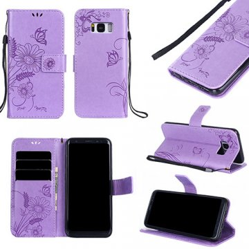 Samsung Galaxy S8 Embossed Ant Flower Design Wallet Case Lavender
