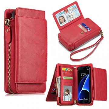 Samsung Galaxy S7 Wallet Detachable Magnetic Case With Wrist Strap Red