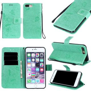 iPhone 8 Plus Wallet Embossed Ant Flower Stand Case Cyan