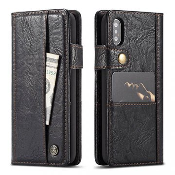 CaseMe iPhone X Retro Slot Cards Wallet Leather Case Black