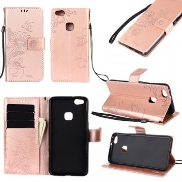 Huawei P10 Lite Wallet Embossed Ant Flower Design Stand Case Rose Gold