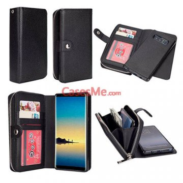 BRG Samsung Galaxy Note 8 Zipper Wallet Litchi Pattern Case Black