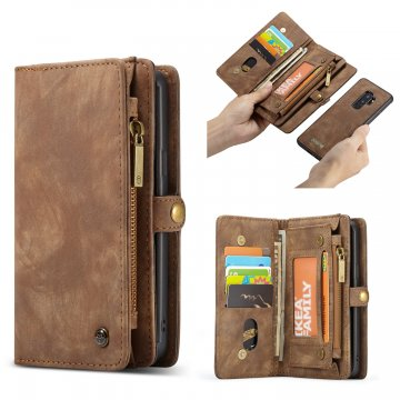 CaseMe Samsung Galaxy S9 Plus Zipper Wallet 2 in 1 Folio Case Brown