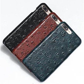 Fashion Pirate Skull Pattern iPhone 7 Plus Genuine Leather Back Cover Case