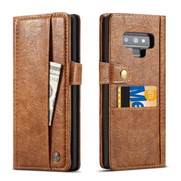CaseMe Samsung Galaxy Note 9 Card Slots Wallet Case Brown