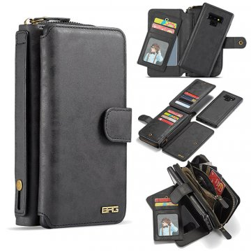 BRG Samsung Galaxy Note 9 Zipper Wallet Magnetic 2 in 1 Case Black