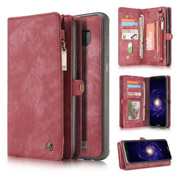 CaseMe Samsung Galaxy S8 Zipper Wallet Detachable 2 in 1 Retro Flannelette Leather Folio Case Red