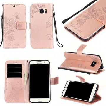 Samsung Galaxy S7 Edge Wallet Embossed Ant Flower Stand Case Rose Gold