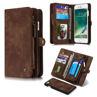 CaseMe iPhone 8 Detachable Multi-slot Zipper Wallet Case Brown