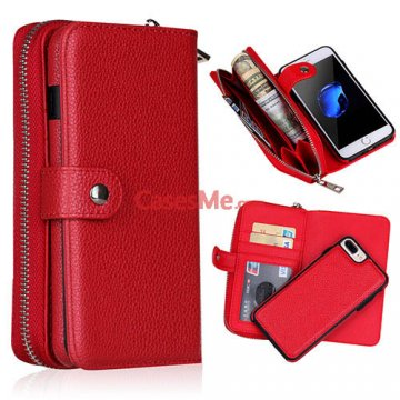 BRG iPhone 8 Plus Zipper Wallet Detachable Litchi Pattern Case Red
