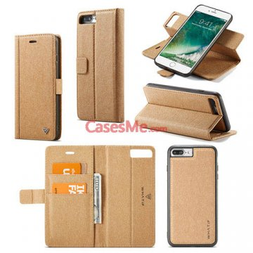 WHATIF iPhone 8 Plus Wallet Detachable 2 in 1 Stand Case Brown