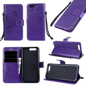 Huawei P10 Wallet Embossed Ant Flower Design Stand Case Purple