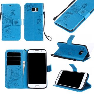 Samsung Galaxy S7 Wallet Embossed Ant Flower Stand Case Blue