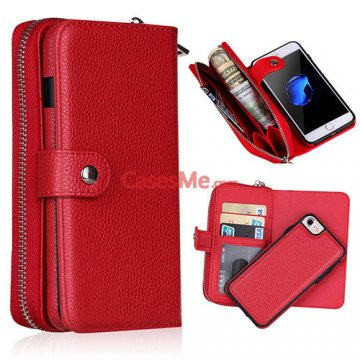 BRG iPhone 8 Litchi Pattern Zipper Wallet Detachable Case Red