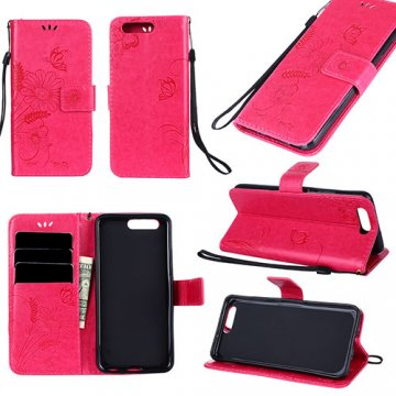 Huawei P10 Wallet Embossed Ant Flower Design Stand Case Red