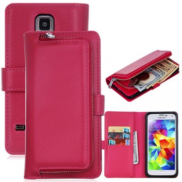 Samsung Galaxy S5 Detachable Magnetic Zipper Pocket Case Rose