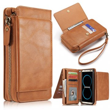 Samsung Galaxy S8 Plus Wallet Detachable Magnetic Case With Wrist Strap Brown
