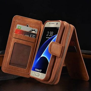 BRG Samsung Galaxy S7 Multi-functional 2 in 1 Zipper Wallet Leather Detachable Magnetic Case Cover