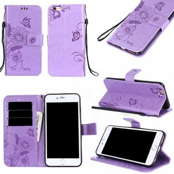 iPhone 6/6S Wallet Embossed Ant Flower Stand Case Lavender