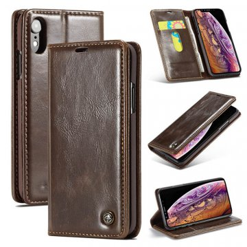 CaseMe iPhone XR Wallet Magnetic Flip Stand Leather Case Brown