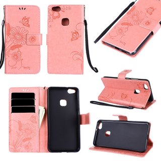 Huawei P10 Lite Wallet Embossed Ant Flower Design Stand Case Pink
