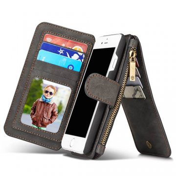CaseMe iPhone 7 Detachable 2 in 1 Multifunctional Wallet Case Black