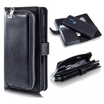 Samsung Galaxy S9 Plus Wallet Zipper Pocket Detachable Case Black