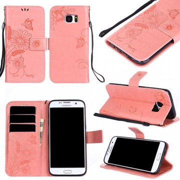 Samsung Galaxy S7 Edge Wallet Embossed Ant Flower Stand Case Pink