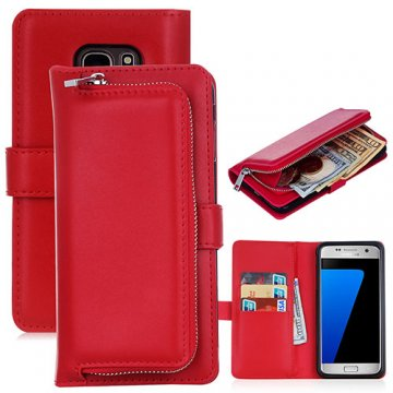 Samsung Galaxy S7 Edge Detachable Magnetic Zipper Pocket Case Red