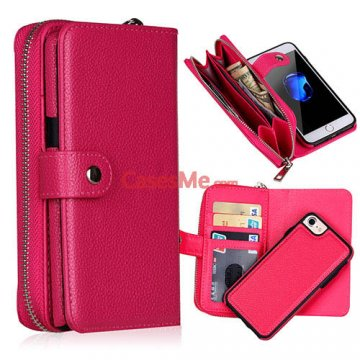 BRG iPhone 8 Litchi Pattern Zipper Wallet Detachable Case Rose