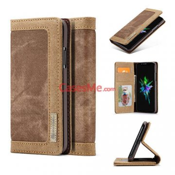CaseMe iPhone X Canvas Leather Wallet Magnetic Case Brown