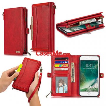 BRG iPhone 8 Plus Wallet Detachable Magnetic Case with Wrist Strap Red