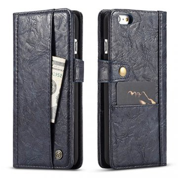 CaseMe iPhone 7 Retro Slot Cards Wallet Leather Case Blue