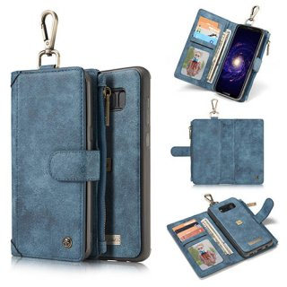 CaseMe Samsung Galaxy S8 Plus Zipper Wallet Metal Buckle Detachable Folio Case Blue