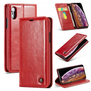 CaseMe iPhone XR Wallet Magnetic Flip Stand Leather Case Red