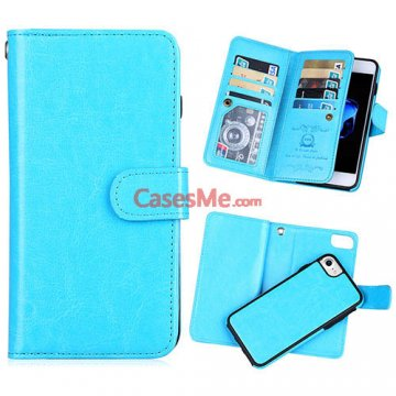 BRG iPhone 8 Wallet 9 Card Slots Detachable Magnetic Case Blue
